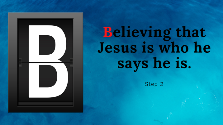 Believing that Jesus is who he says he is.